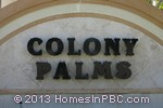 sign in front of Colony Palms in Delray Beach