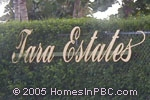 sign in front of Tara Estates in Boynton Beach