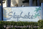 sign in front of Sky Lake in Boynton Beach