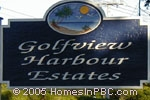 sign in front of Golfview Harbour Estates in Boynton Beach