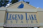 sign in front of Legend Lake Estates in Lake Worth