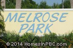 sign in front of Melrose Park in Boynton Beach